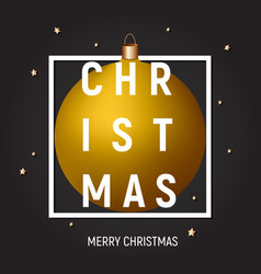 christmas greeting card poster cover gold ball vector image