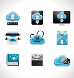 cloud computing icon set vector image