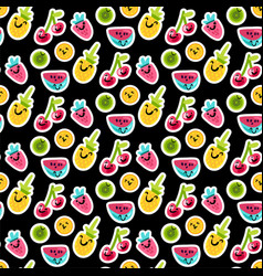 color fruits emoji seamless pattern vector image