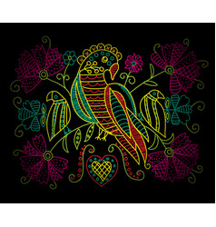 colorful neon embroidery pattern with birds and vector image