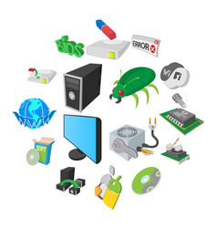 computer service icons set cartoon style vector image