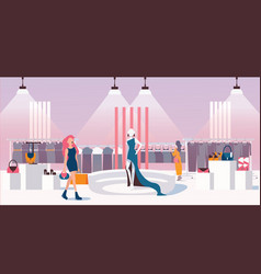 Concept of woman ready to wear shop flat vector