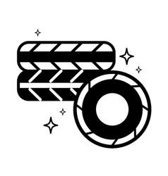 contour cute tires car style design vector image