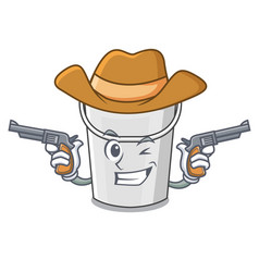 cowboy plastic tube bucket isolated character vector image