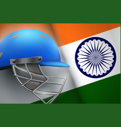 cricket helmet and american flag vector image