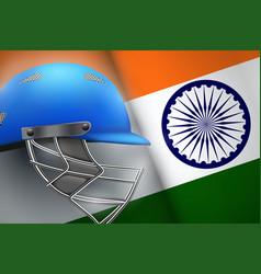 Cricket helmet and american flag vector