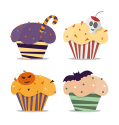 cupcake happy halloween scary sweets vector image