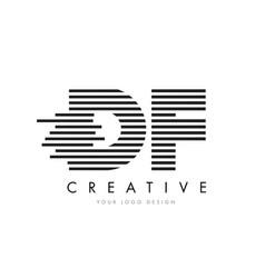 df d f zebra letter logo design with black and vector image
