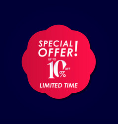 Discount special offer up to 10 off limited time vector