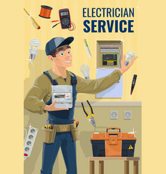 electrician with tools and equipment vector image