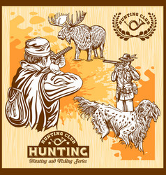 elk hunting and hunting dog vector image