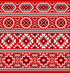 Ethnic seamless pattern with black white red color vector