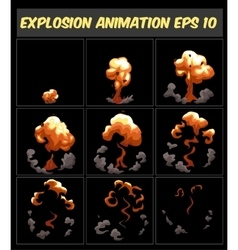 explosion cartoon animation frames vector image