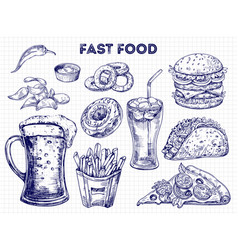 fast food snacks and drinks sketches vector image