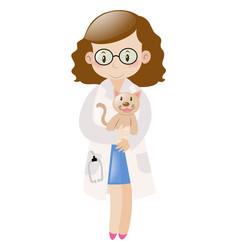 female vet holding little cat vector image