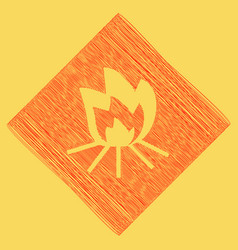 fire sign red scribble icon obtained as a vector image