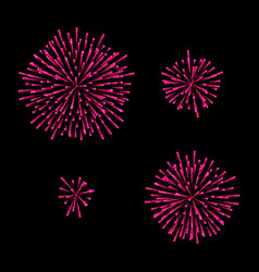 Fireworks set isolated on black vector