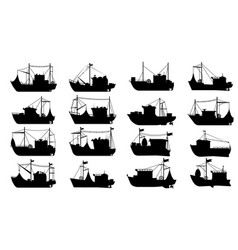 Fishing boat silhouette set vector