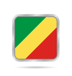 flag of congo shiny metallic gray square button vector image