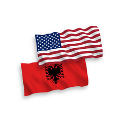 Flags albania and america on a white background vector