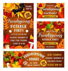 Friendsgiving holiday potluck dinner party vector