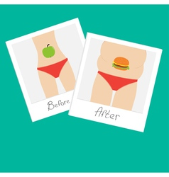 From skinny to fat woman Healthy unhealthy food vector