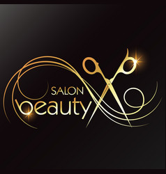 Gold scissors and curls hair for a beauty salon vector