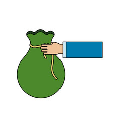 green bag money in the hand person vector image