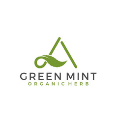 Green mint leaf with letter a initial vector