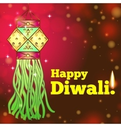 Greeting card for diwali with colorful lanterns vector