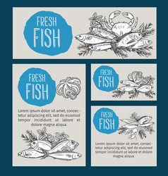 Hand drawn seafood design vector
