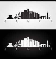 hanoi skyline and landmarks silhouette vector image