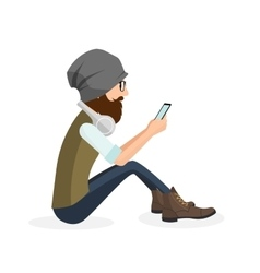 Hipster handsome young man sitting and using vector