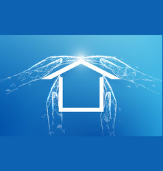 home icon house made hands family house vector image