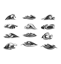 icons set ocean waves vector image