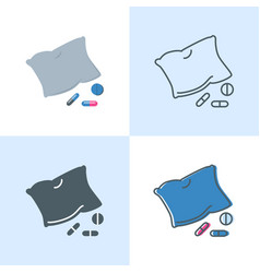 Insomnia concept icon set in flat and line styles vector