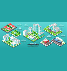 isometric modern city infographics vector image