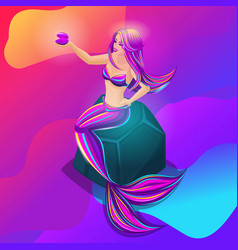 isometry is a bright mystical mermaid is located vector image