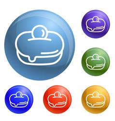 jewish sweet bakery icons set vector image