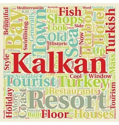 Kalkan Holiday Resort in Turkey text background vector image