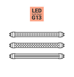 Led light g13 bulbs outline icon set vector
