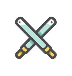light swords crossed icon cartoon vector image