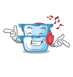 Listening music cartoon double boiler for the vector