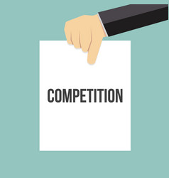 man showing paper competition text vector image