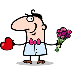 man with heart and flowers cartoon vector image