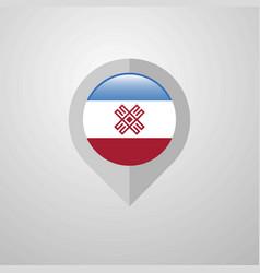Map navigation pointer with mari-el flag design vector
