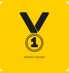 medal icon on yellow background vector image