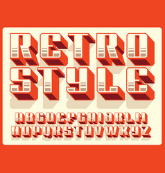 modern professional 3d alphabet retro style vector image