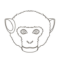 monkey icon in outline style isolated on white vector image