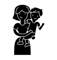 Mother with son - mum with kid icon vector